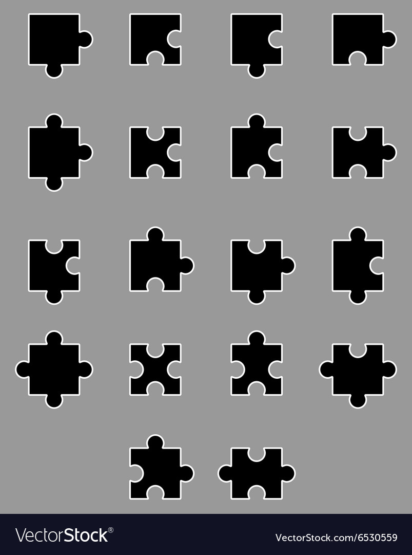 Diverse set of black silhouette puzzles vector
