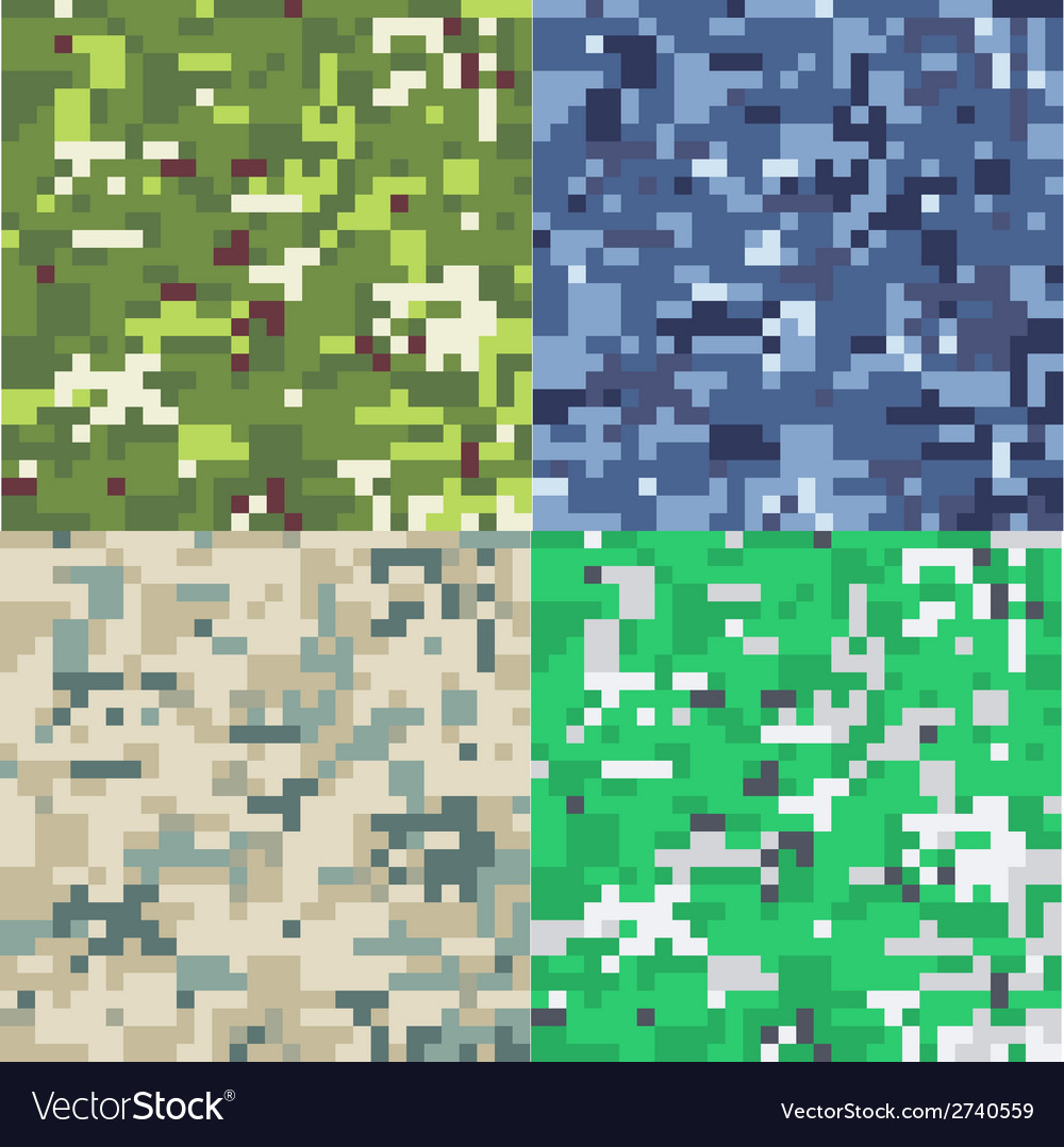 Set of camouflage military background in pixel vector