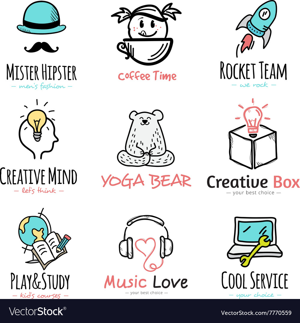 Set of doodle and sketch style logos vector