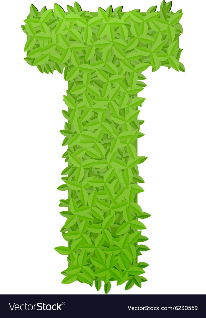 Uppecase letter t consisting of green leaves vector