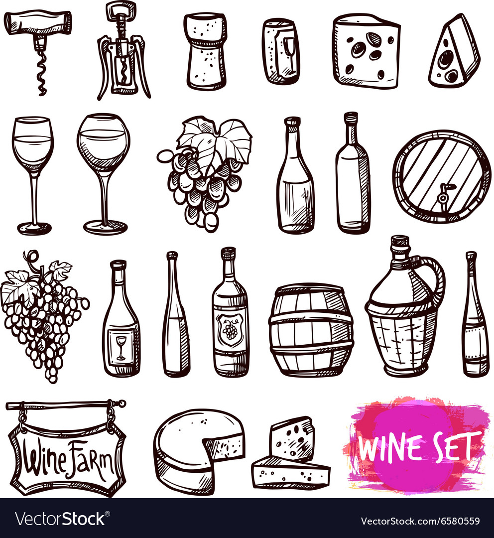 Wine black doodle icons set vector