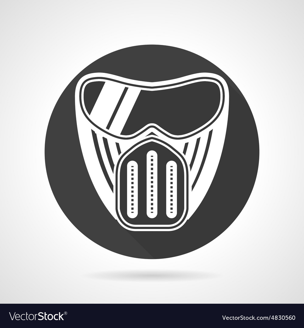 Paintball mask black round icon vector