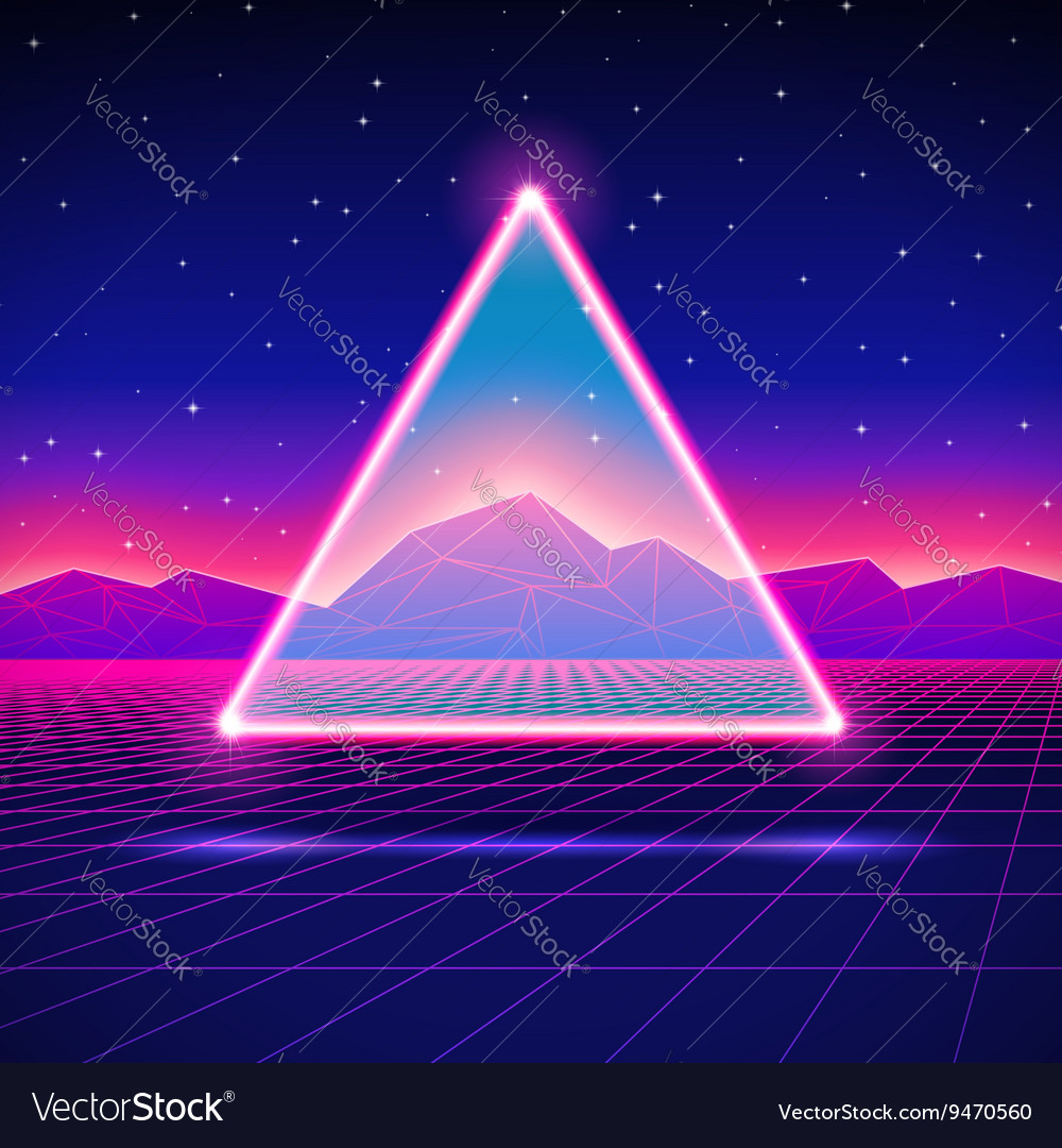 Retro futuristic landscape with triangle and shiny vector