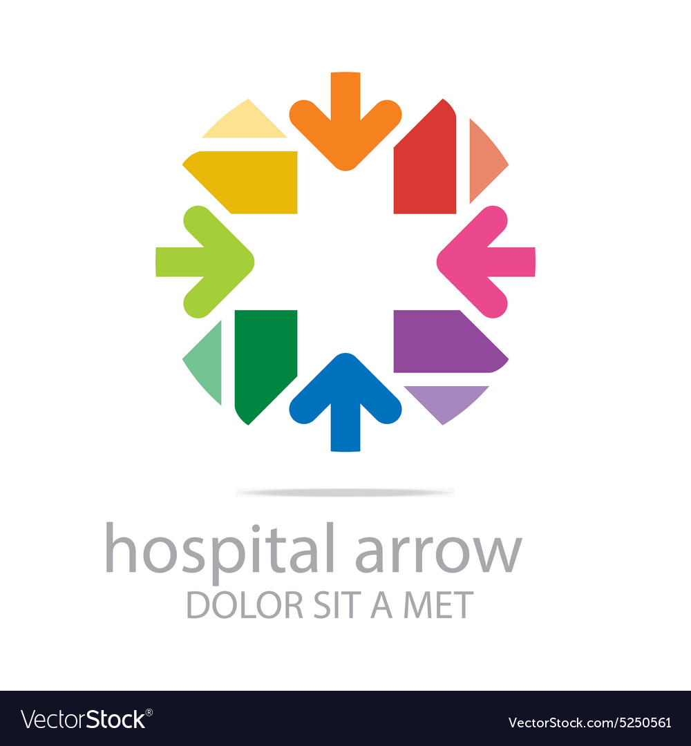 Abstract logo hospital arrow plus colorful icon vector