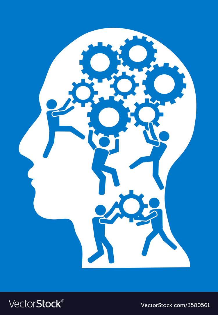 People working in gears brain vector
