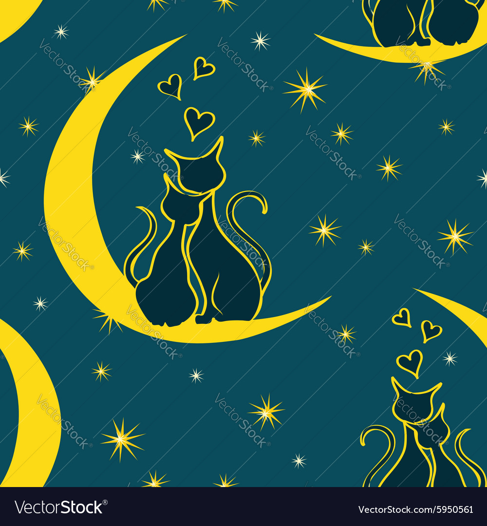 Seamless pattern with pair of lovers cats vector
