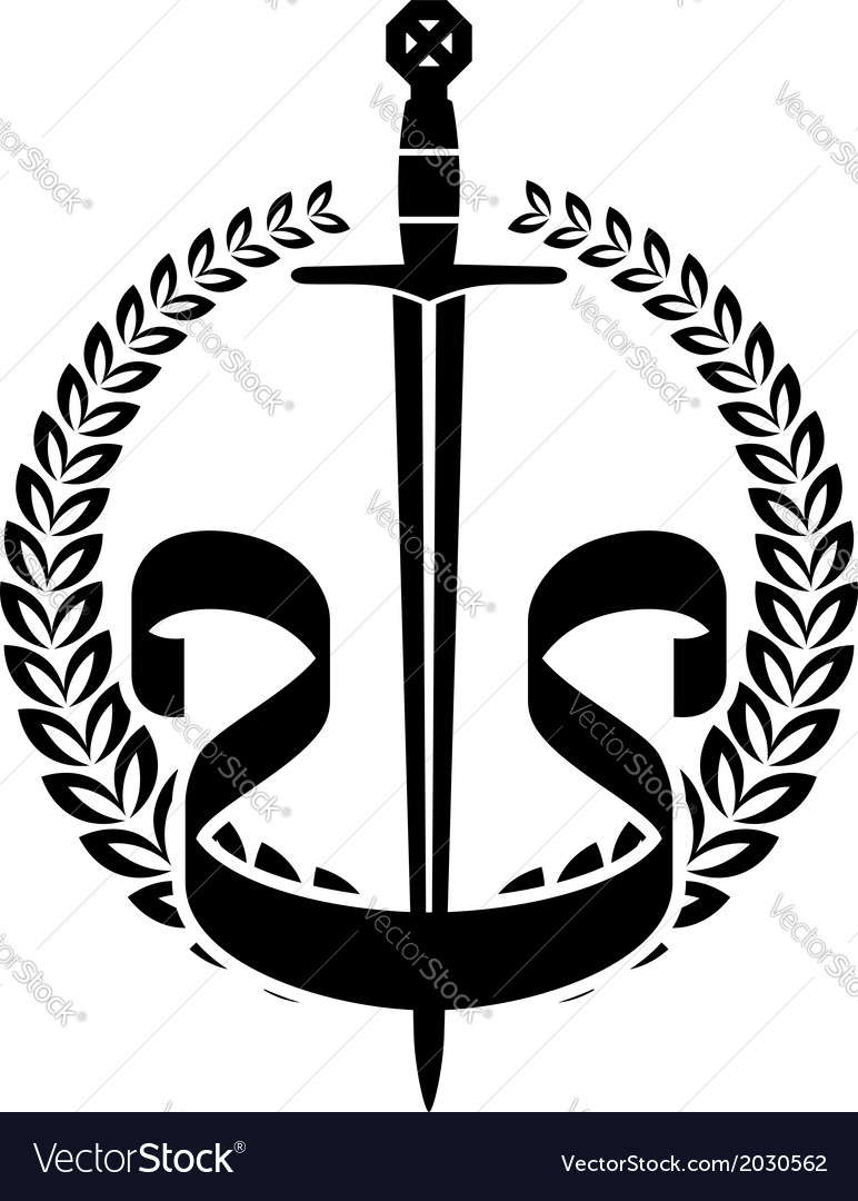 Laurel wreath with knight sword vector