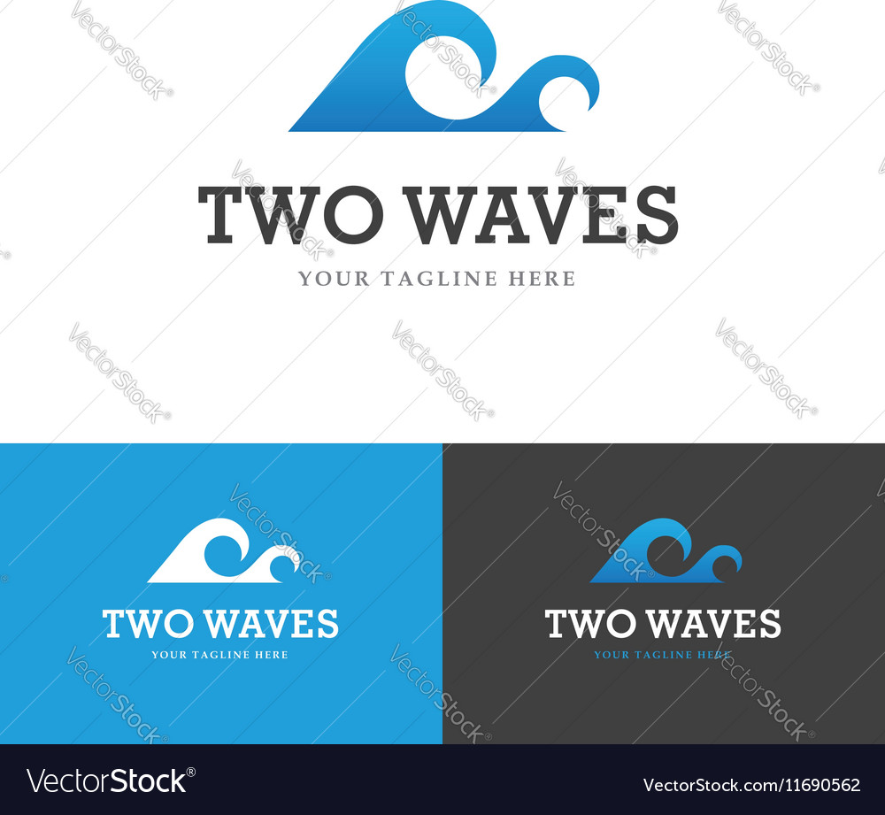 Two waves logo vector