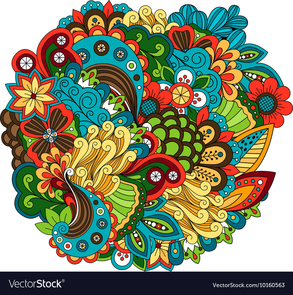Ethnic colored floral circular pattern vector