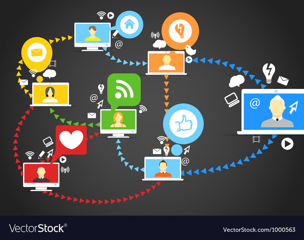 Global social network abstract scheme vector