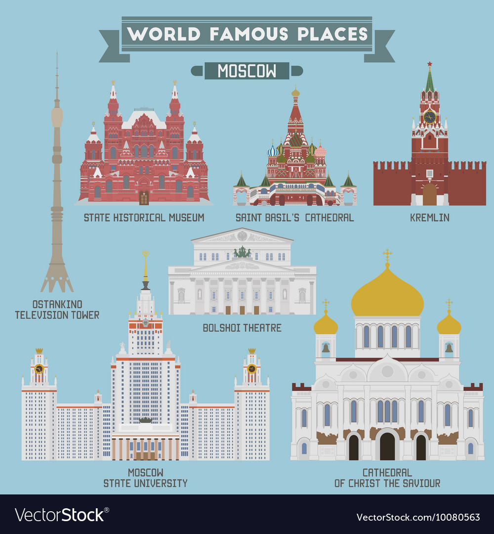 Moscow famous places vector