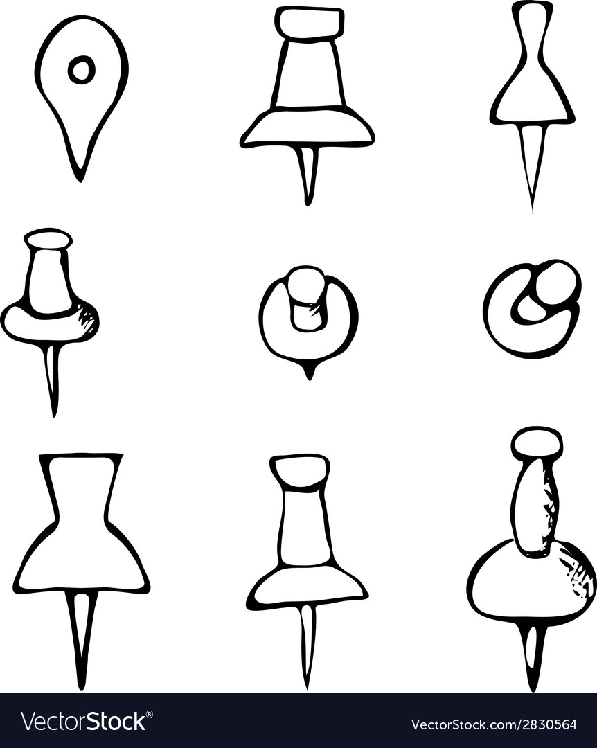 Black and white handdrawn push pin vector