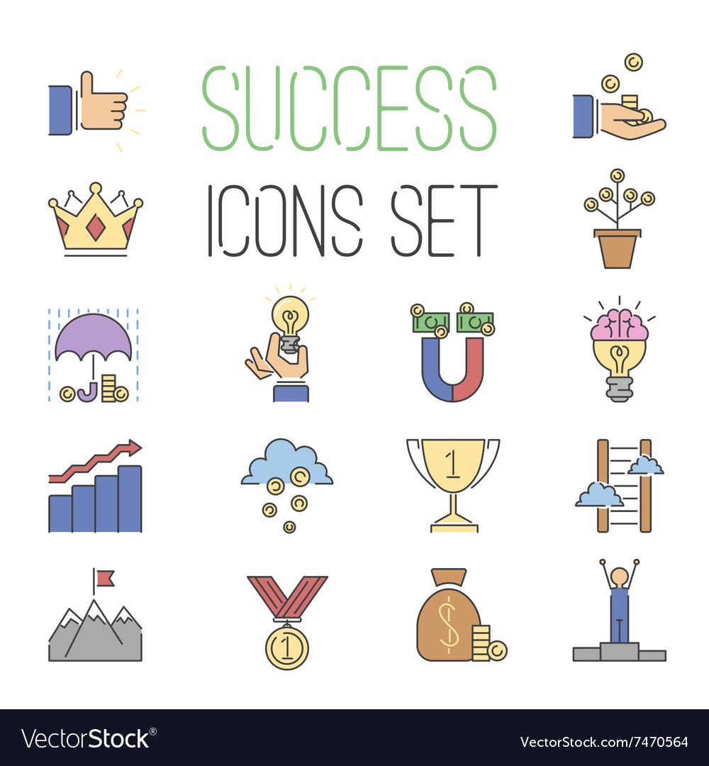 Business success icons set isolated on vector