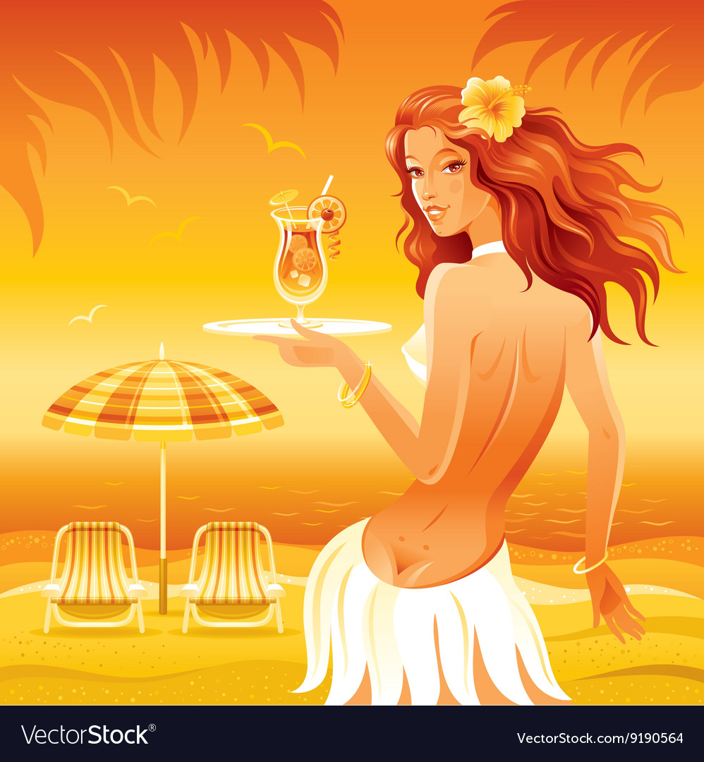 Evening beach background with beautiful hula girl vector