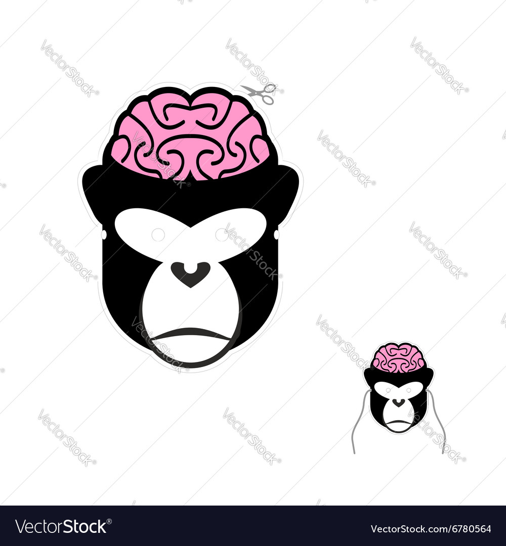 Monkey with brains carnival mask for any holiday vector