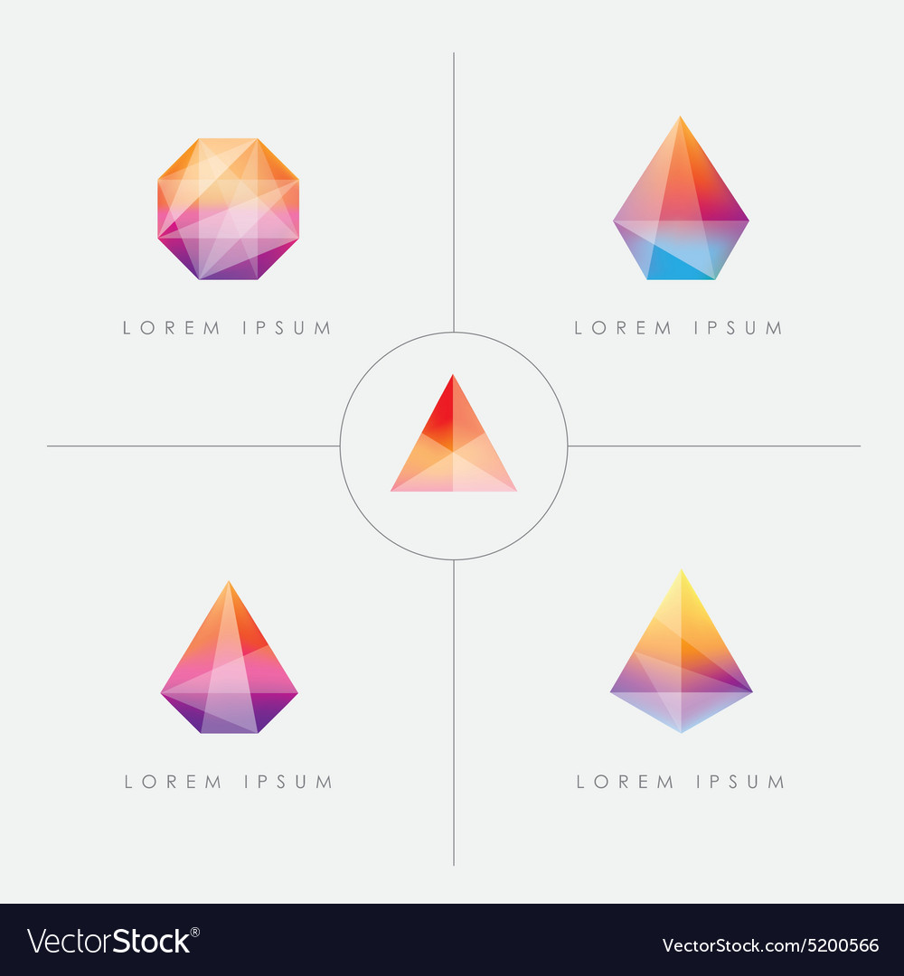 Diamond prism logo icon shapes vector