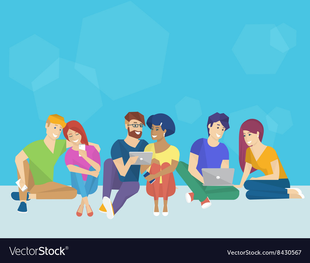 Group of creative people using smartphone laptop vector