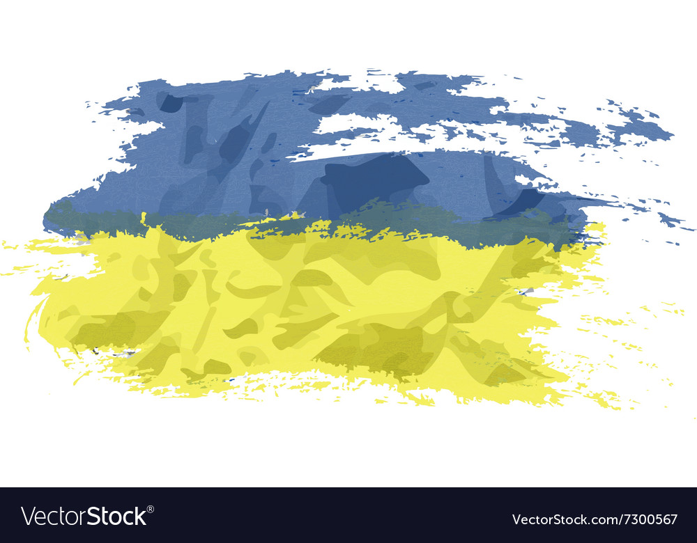 Ukrainian flag painted by brush hand paints art vector