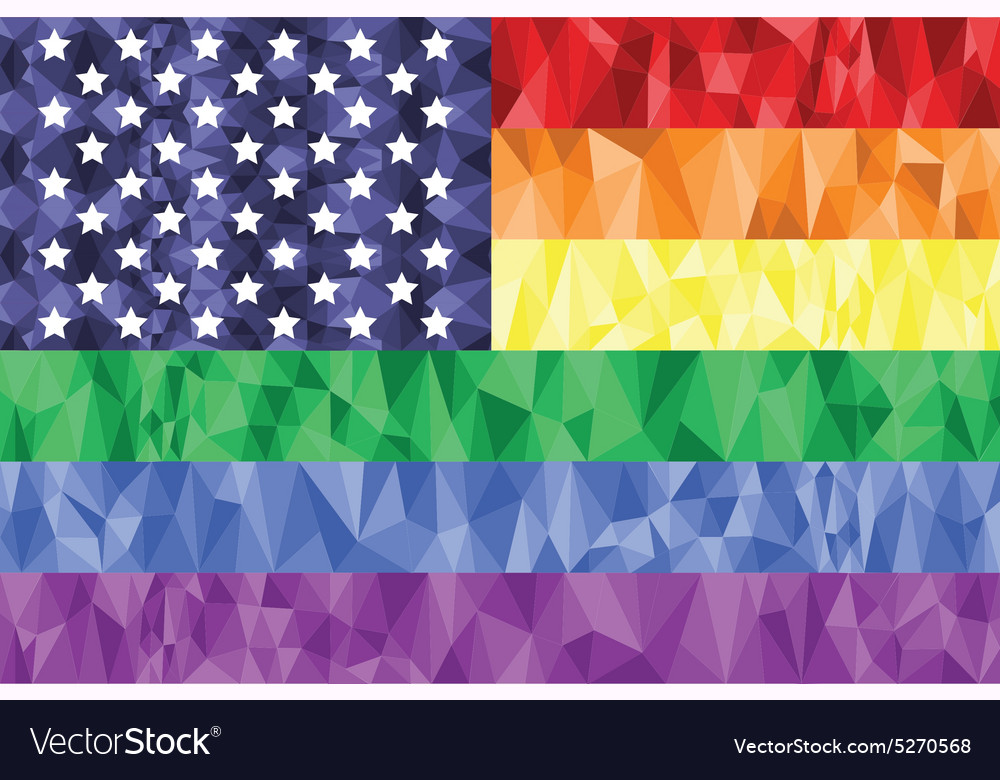 American flag on the rainbow background vector