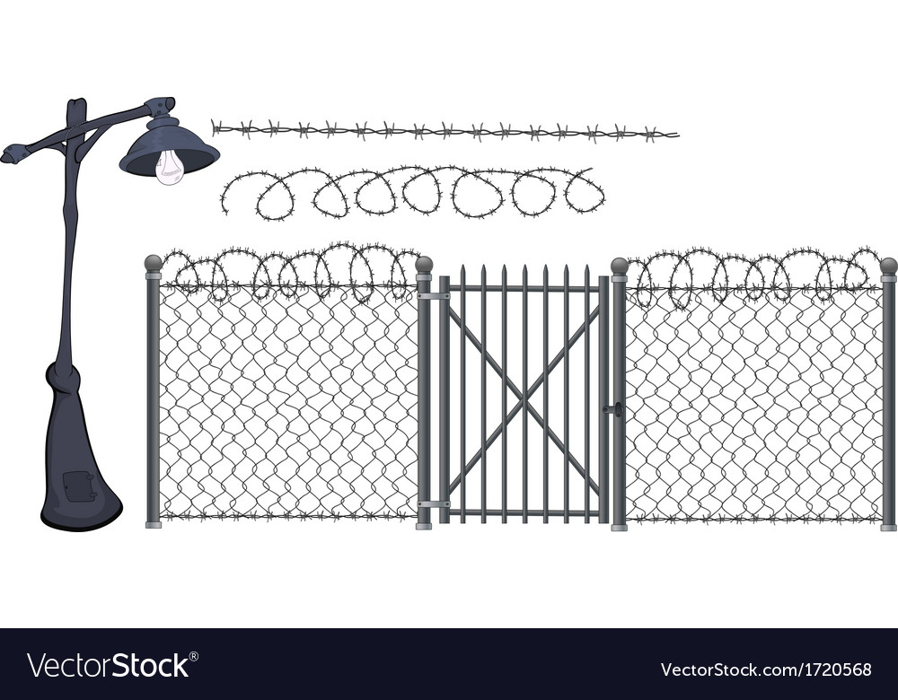 Barbed wire and street lantern vector