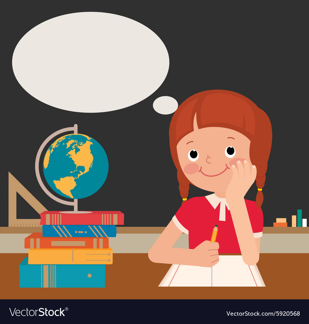 Schoolgirl sits at a school desk vector