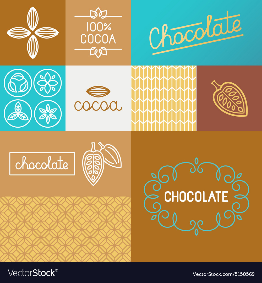 Set of design elements for chocolate packaging vector