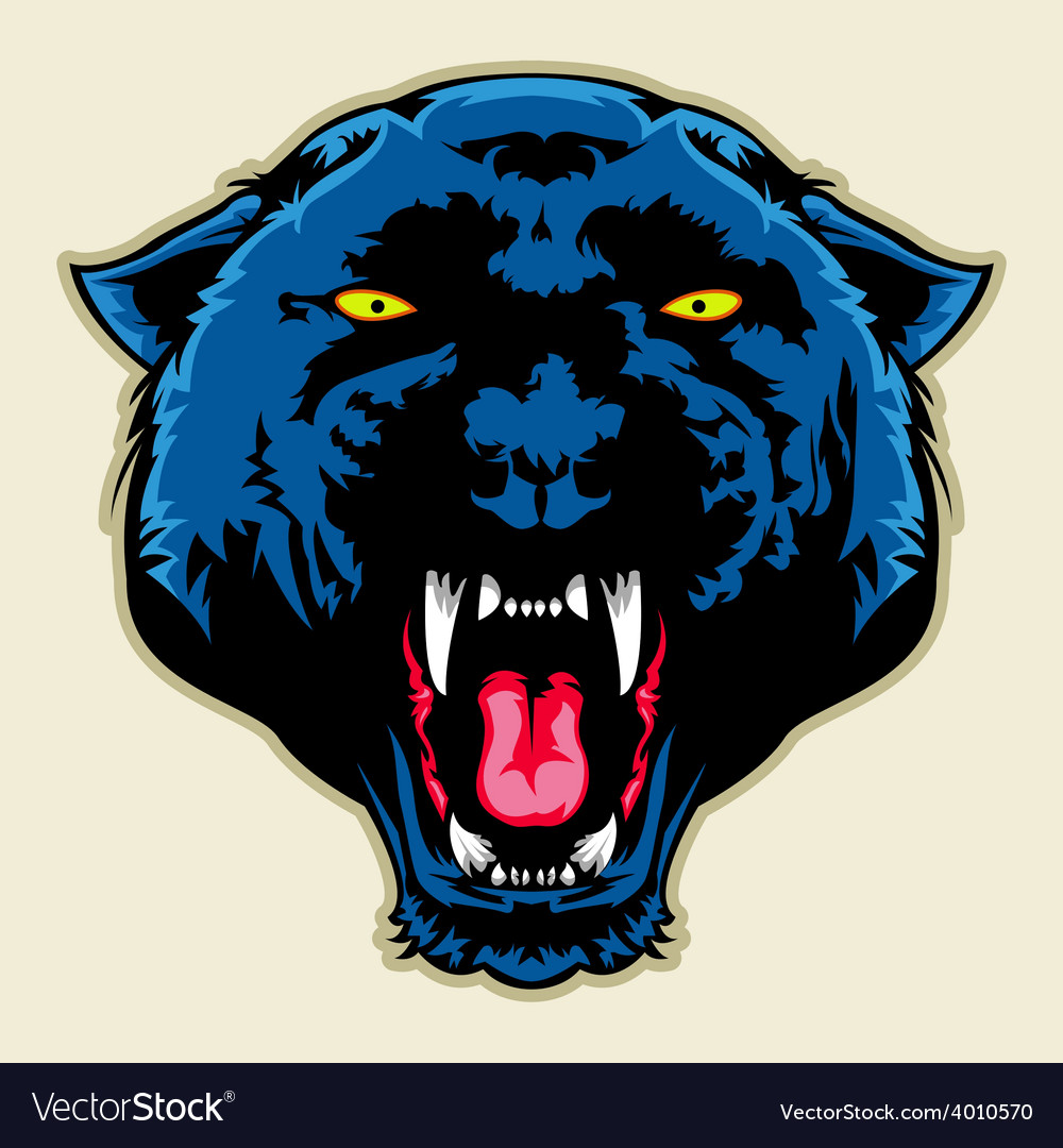 Angry black panther head vector