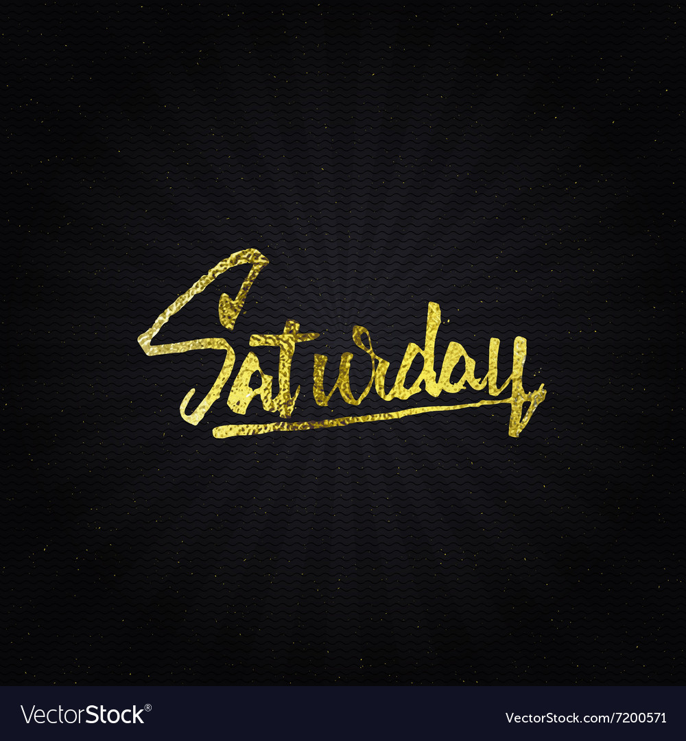 Saturday  calligraphic phrase written in gold vector