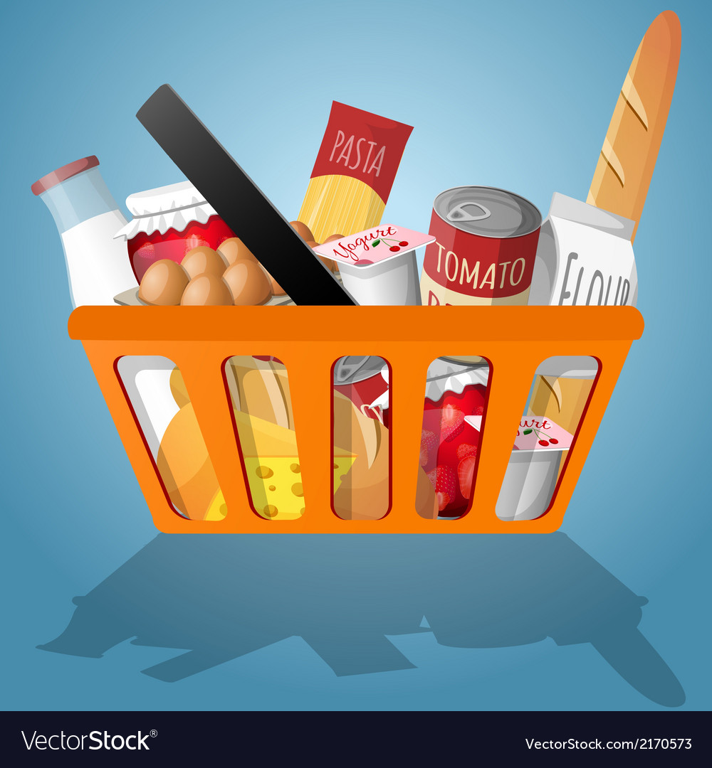 Food in shopping basket vector