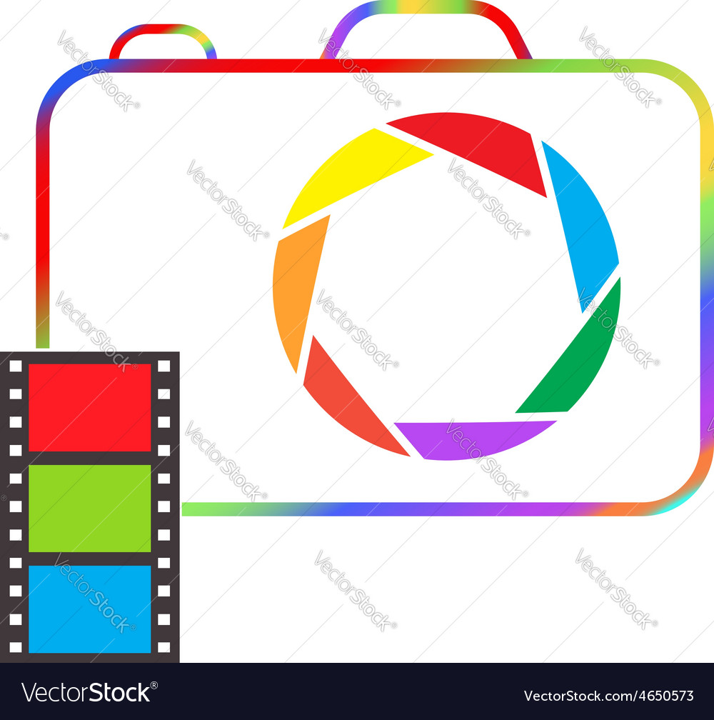 Multicolored camera with film on a white vector