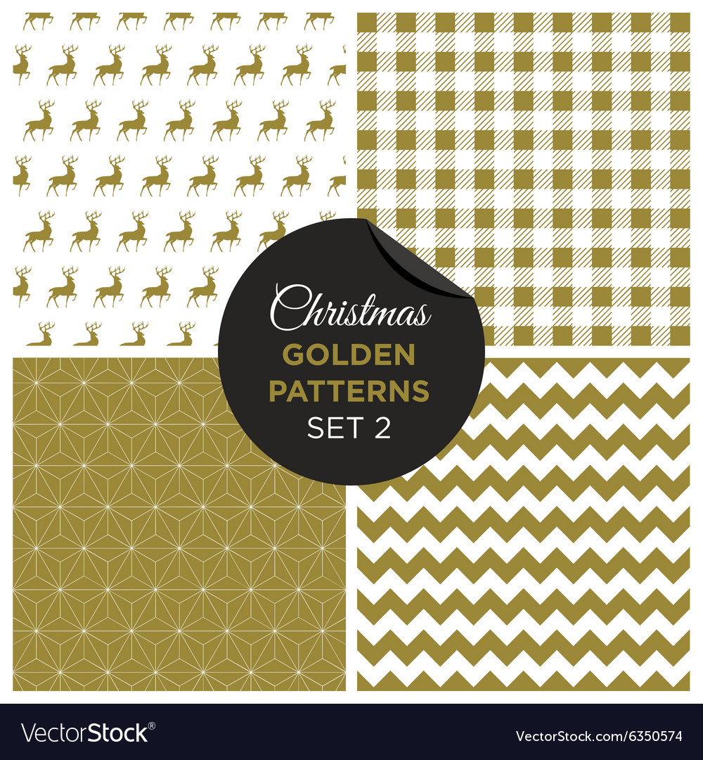 Christmas golden patterns set 2 vector
