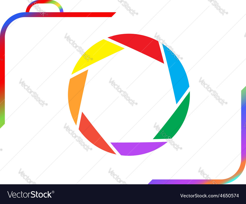 Multicolored camera on a white background vector