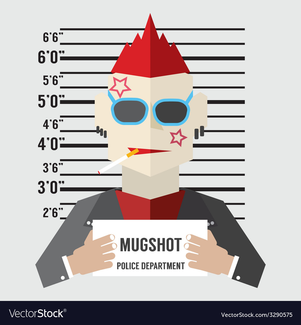 Mugshot of gangster vector