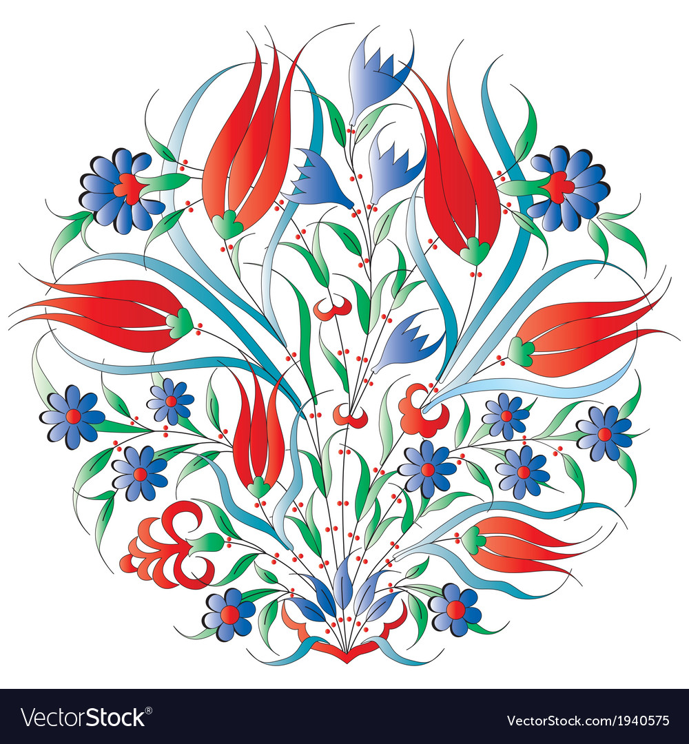Oriental ottoman design isolated vector