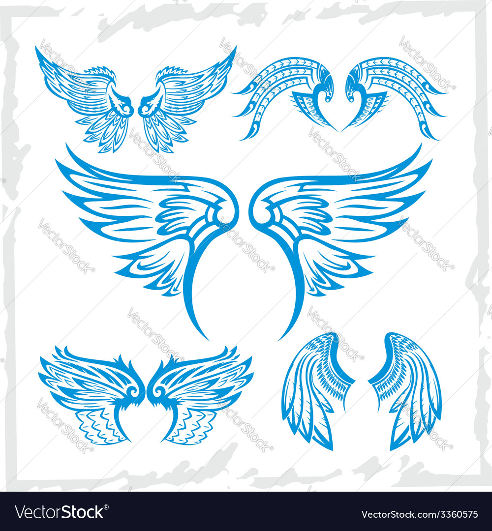 Wings set vinylready vector