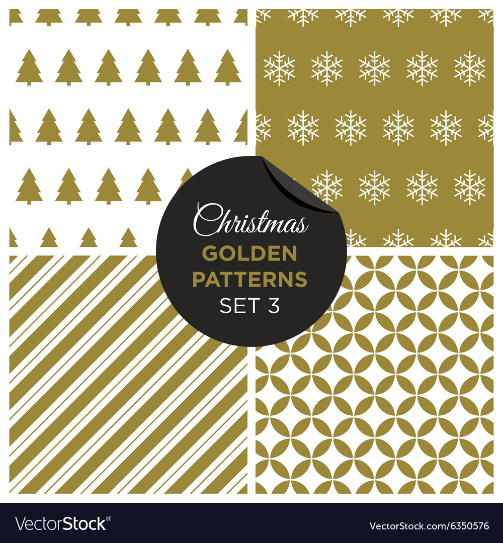 Christmas golden patterns set 3 vector