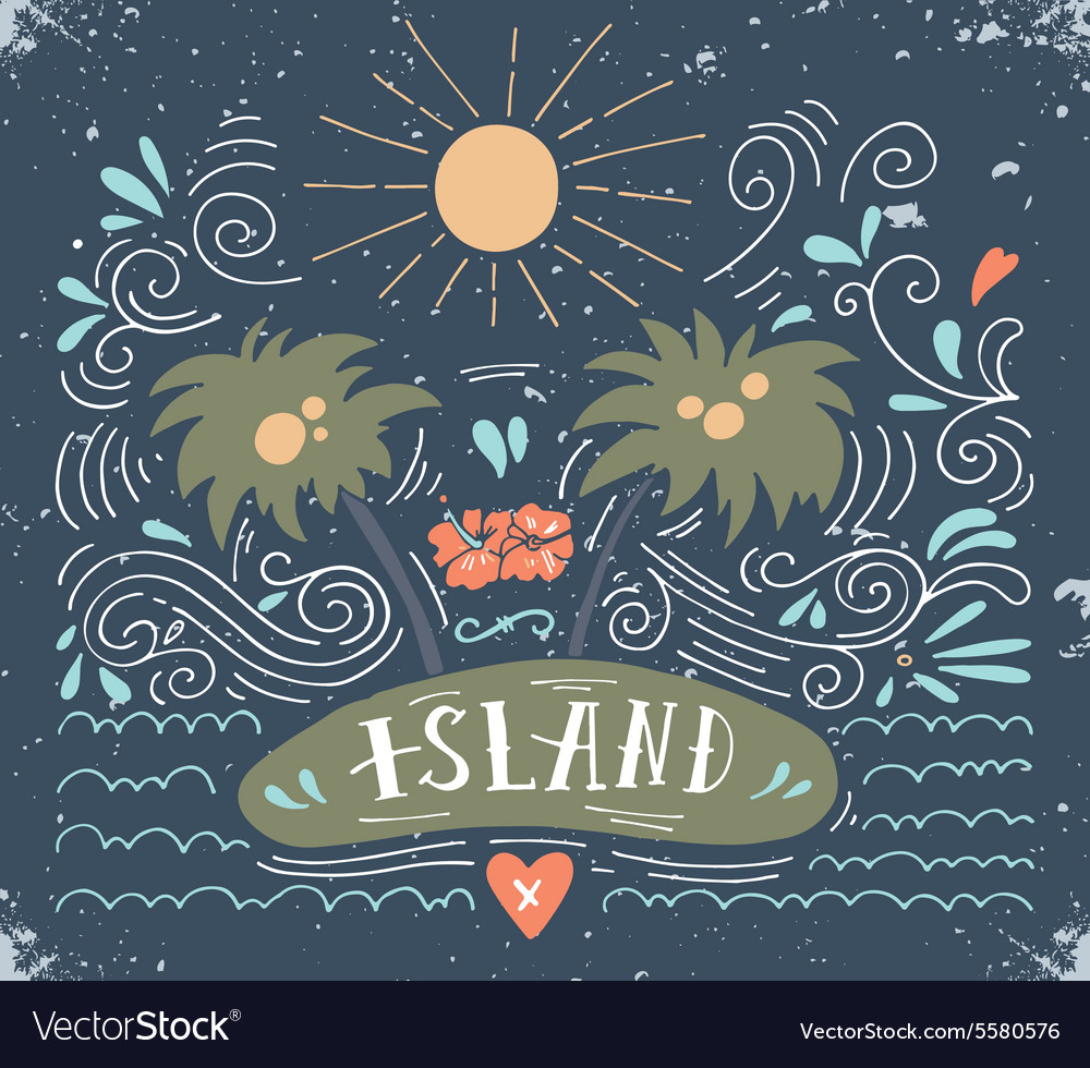 Hand drawn vintage print with an island palm trees vector