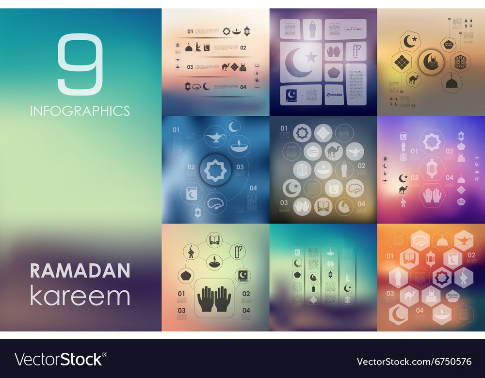 Ramadan infographic with unfocused background vector