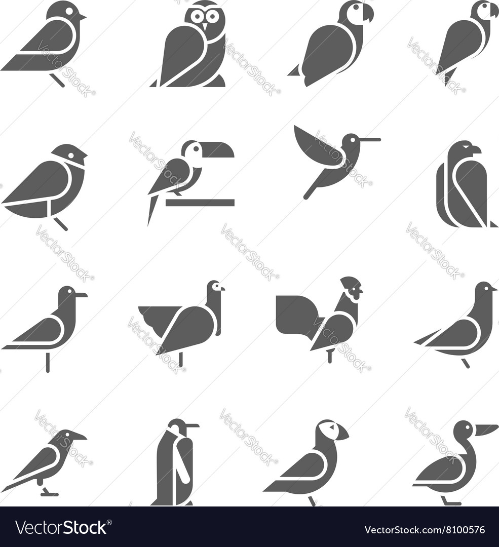 Set of bird icons on white background vector