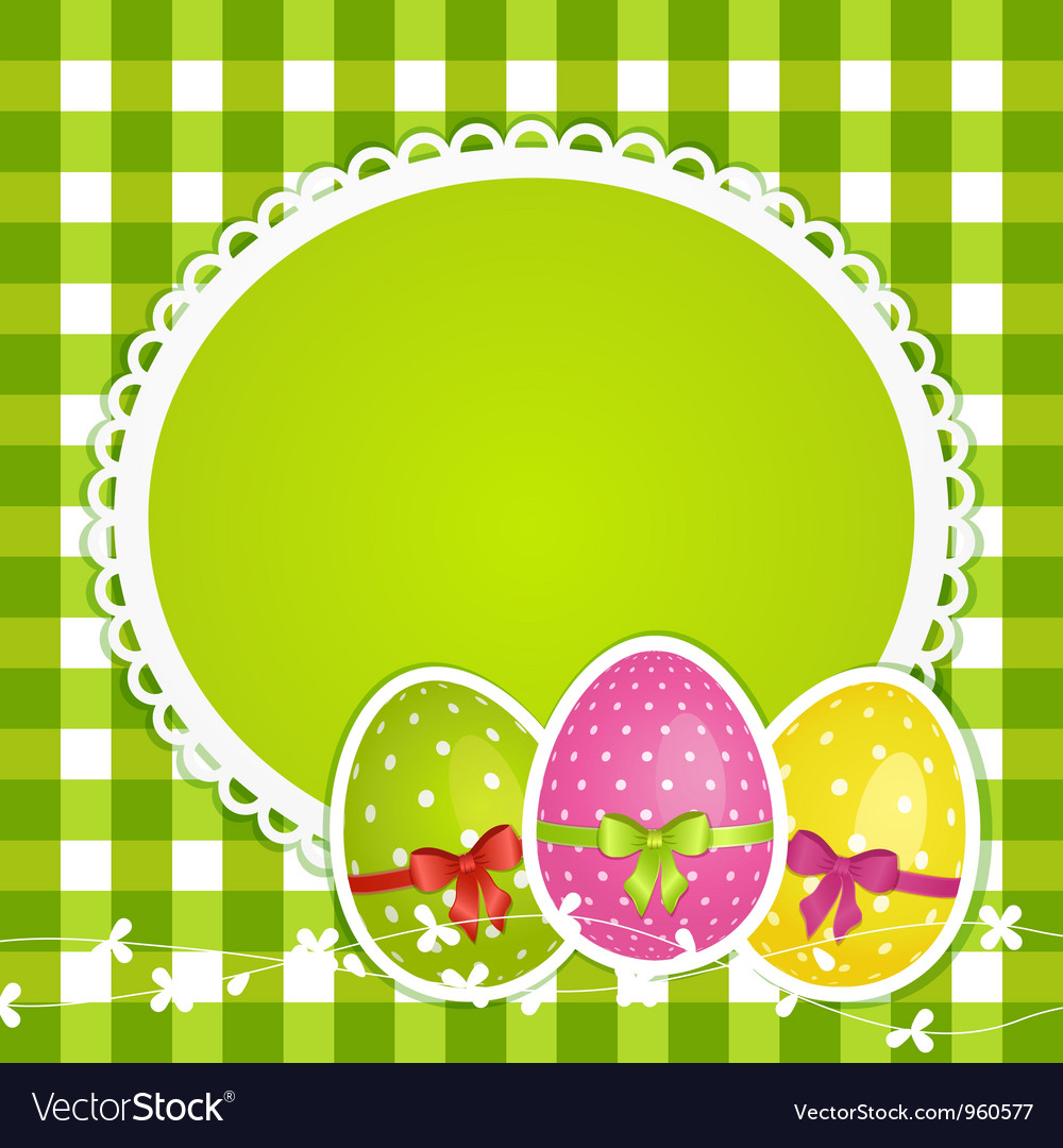 Easter eggs and border on green gingham vector
