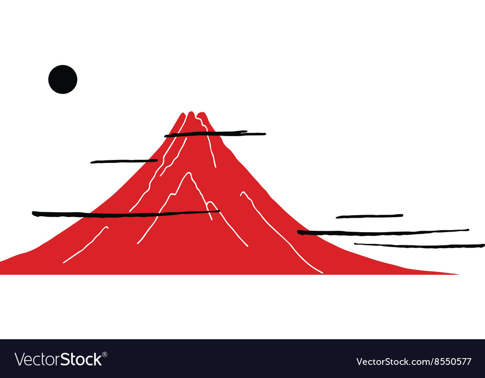 Japanese style background with mountain fuji san vector