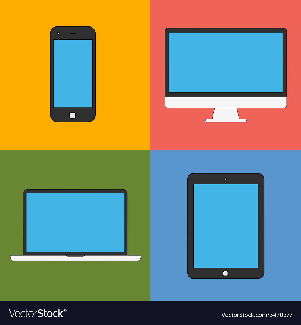 Laptop tablet computer monitor and smartphone flat vector