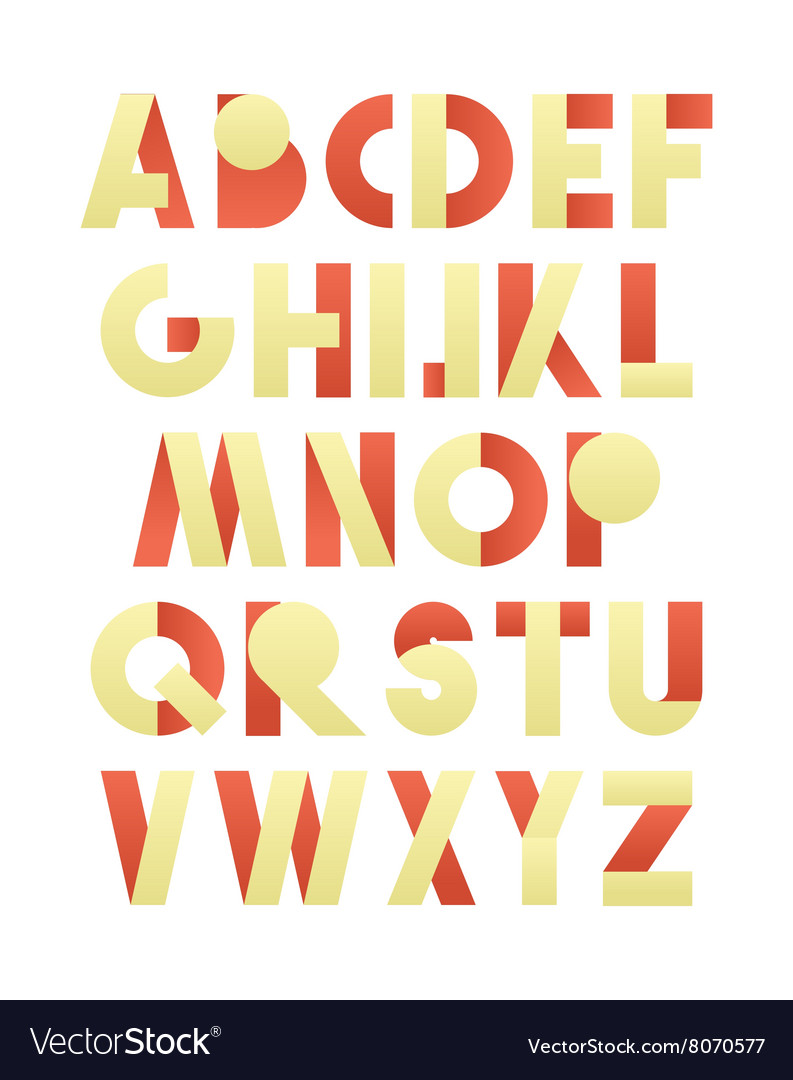 Retro font in red and yellow beige alphabet vector