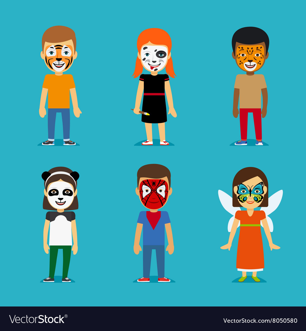 Children with painted faces vector