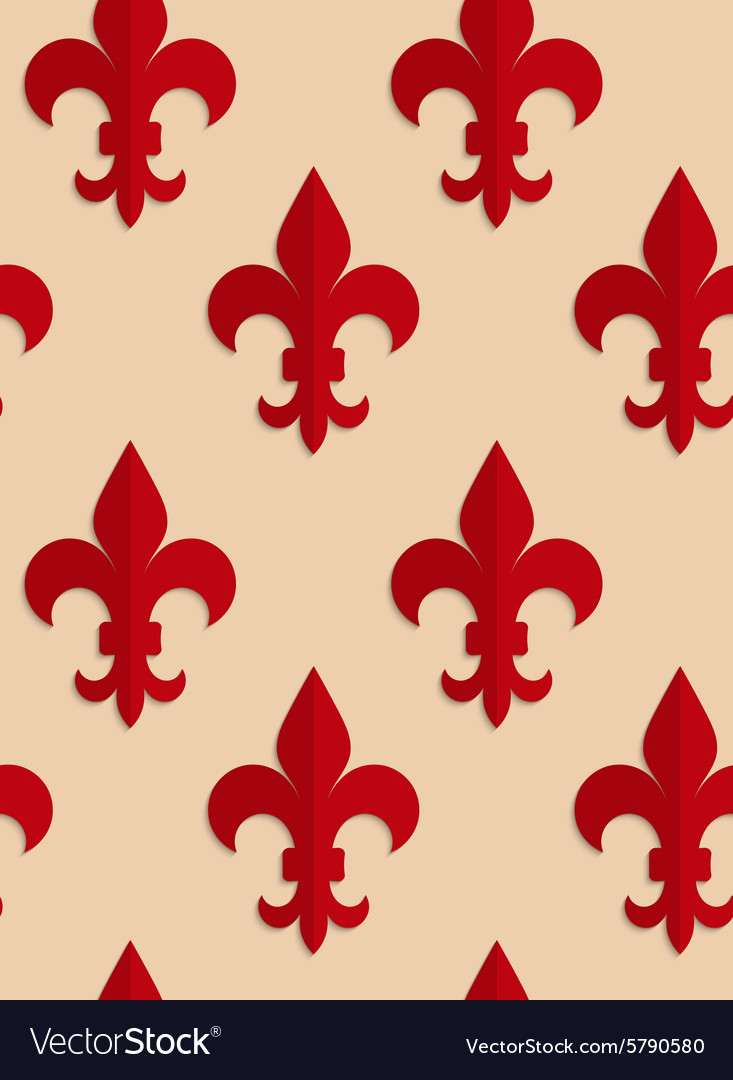 Retro fold red fleurdelis vector