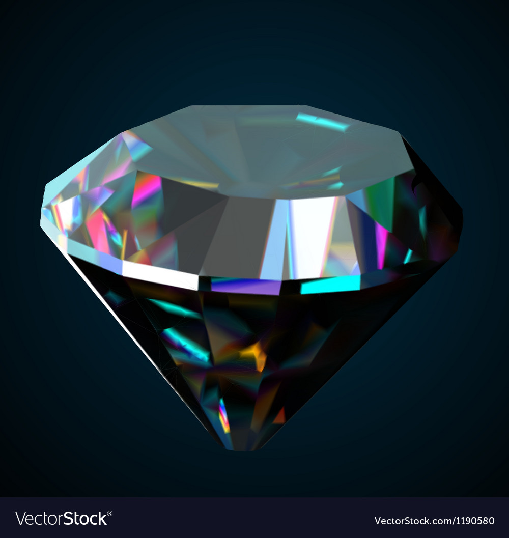 Shiny and bright diamond on a black background vector