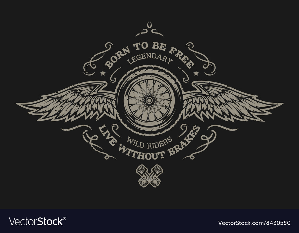 Wheel and wings for dark background vector