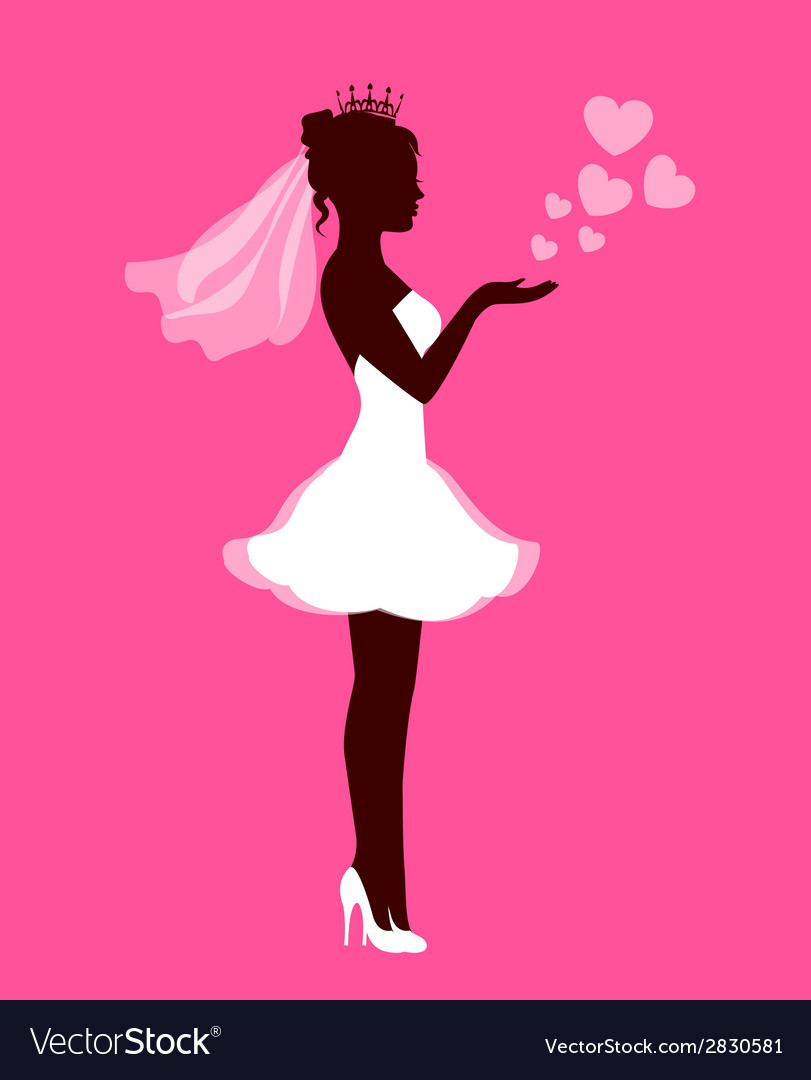 Bride with hearts on a pink background vector