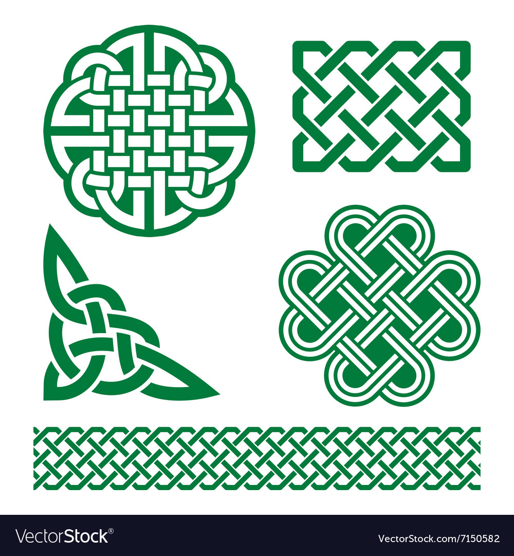 Celtic green knots braids and patterns  st patri vector