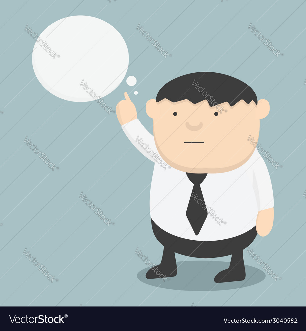 Obese businessman pointing the words vector